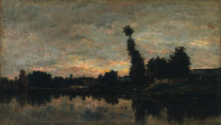 Sunset on the River Oise, Oil by Charles François Daubigny (1817-1878, France)