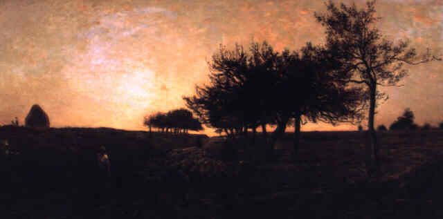 Sunset, Oil by Charles François Daubigny (1817-1878, France)