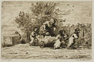 Charles François Daubigny - The Children with the Wagon