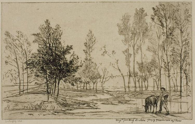 The Donkey at the Watering Place, Oil by Charles François Daubigny (1817-1878, France)