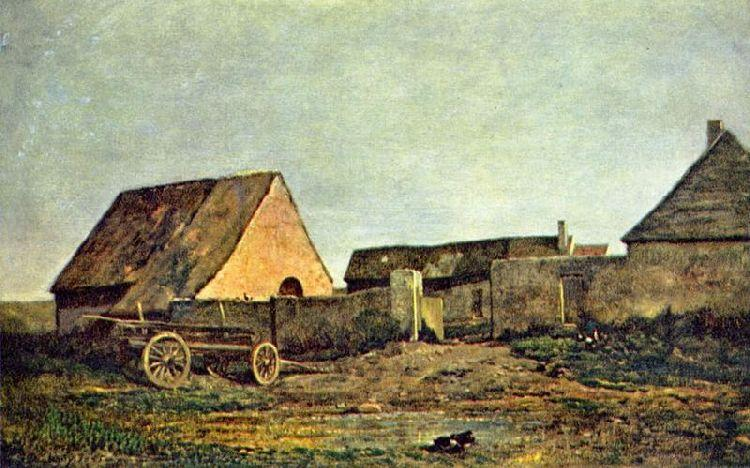The Farm, Oil by Charles François Daubigny (1817-1878, France)