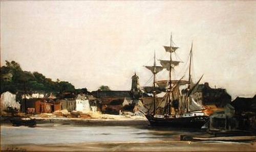 The Harbour at Honfleur, Oil by Charles François Daubigny (1817-1878, France)