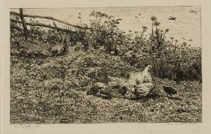 Charles François Daubigny - The Hen and her Chicks
