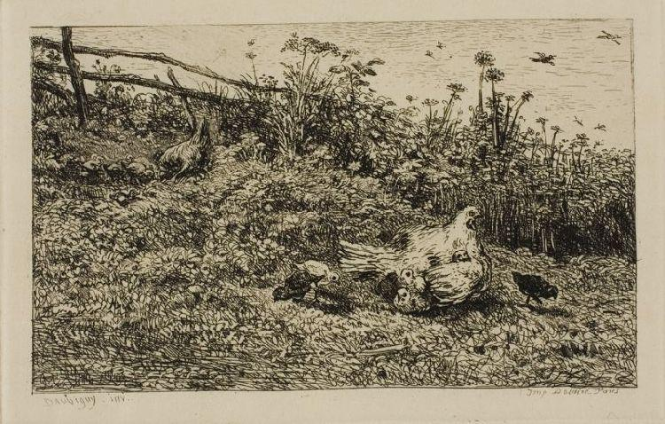 The Hen and her Chicks, Oil by Charles François Daubigny (1817-1878, France)