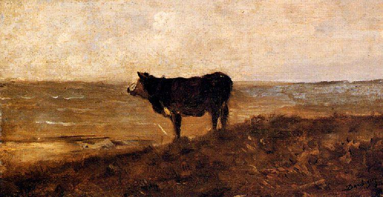 The Lone Cow, Oil by Charles François Daubigny (1817-1878, France)