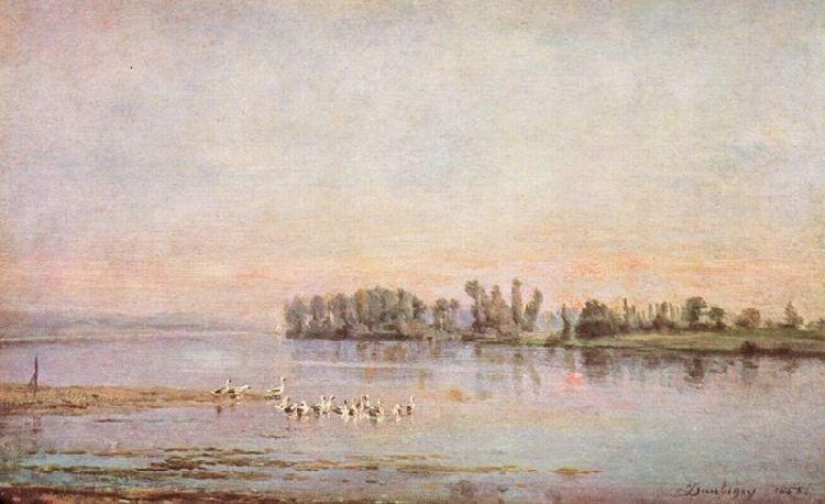 The morning, Oil by Charles François Daubigny (1817-1878, France)