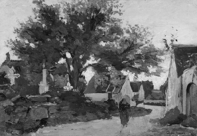 Village in Brittany, Oil by Charles François Daubigny (1817-1878, France)