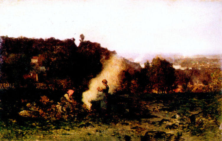 Wood-fire in the country by Charles François Daubigny (1817-1878, France) | Oil Painting | WahooArt.com