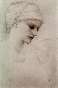 Edward Coley Burne-Jones - Girl with sloping head