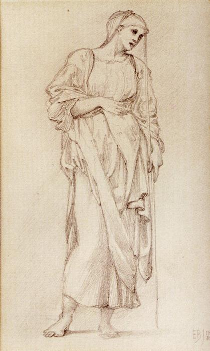 Study Of A Standing Female Figure Holding A Staff by Edward Coley Burne-Jones (1833-1898, United Kingdom) | Oil Painting | WahooArt.com