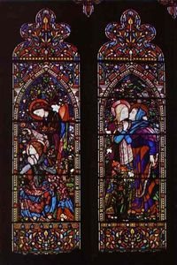 Edward Coley Burne-Jones - the left-hand and centre panels of a three-light window at St. Columba-s Church