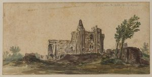 Jan Van Goyen - View of the ruins of the abbey at Egmont