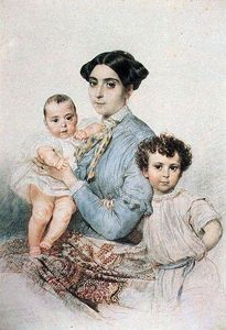 Karl Pavlovich Bryullov - Portrait of Teresa Michele Tittoni with his sons