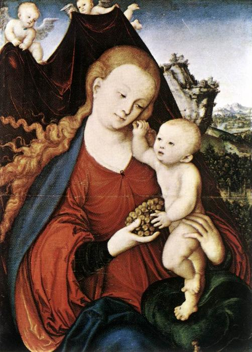 Madonna and Child by Lucas Cranach The Elder (1472-1553, Germany) | Museum Quality Copies Lucas Cranach The Elder | WahooArt.com
