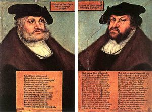 Lucas Cranach The Elder - Portraits of Johann I and Frederick III the wise, Electors of Saxony
