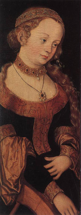 St. Catherine of Alexandria, Oil by Lucas Cranach The Elder (1472-1553, Germany)