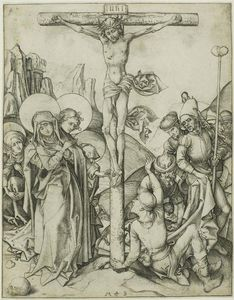 Martin Schongauer - The Crucifixion with the Holy Women