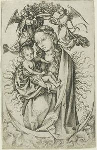 Martin Schongauer - The Madonna on the Crescent Crowned by Two Angels