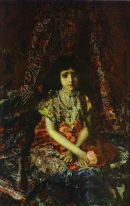 Mikhail Vrubel - Portrait of a Girl against a Persian Carpet
