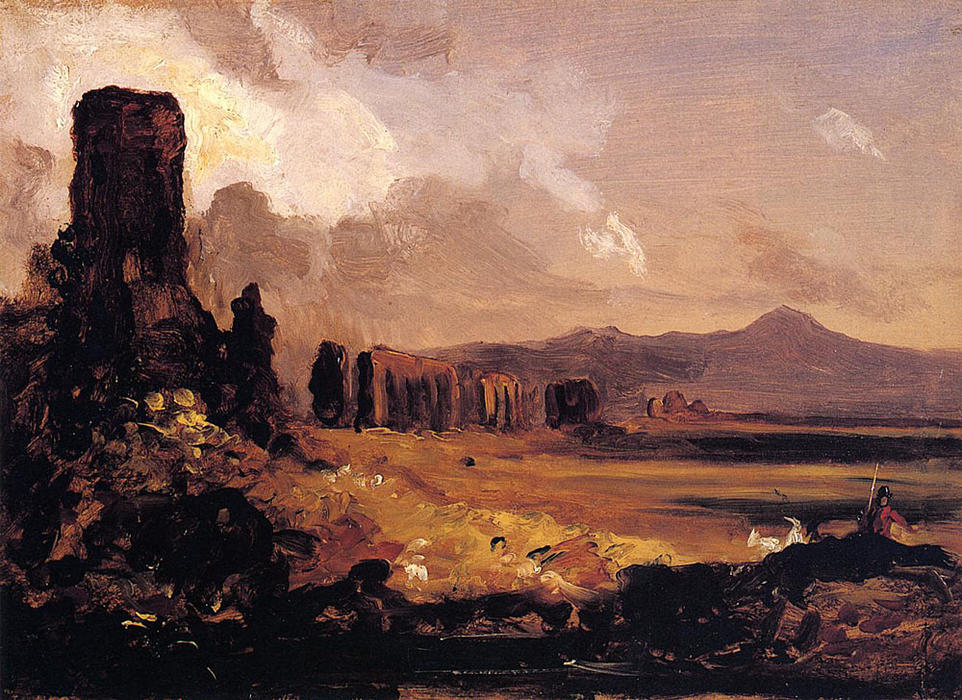 Campagna di Roma (study for Aqueduct near Rome), 1832 by Thomas Cole (1801-1848, United Kingdom) | Oil Painting | WahooArt.com