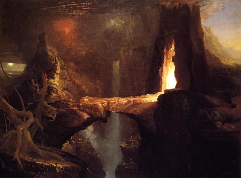 Expulsion. Moon and Firelight, Oil On Canvas by Thomas Cole (1801-1848, United Kingdom)