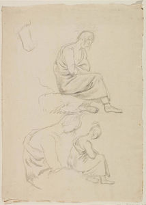 Thomas Cole - Three Studies of Seated Figure Covered with Robes