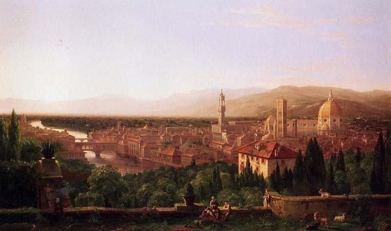 View of Florence from San Miniato, Oil On Canvas by Thomas Cole (1801-1848, United Kingdom)