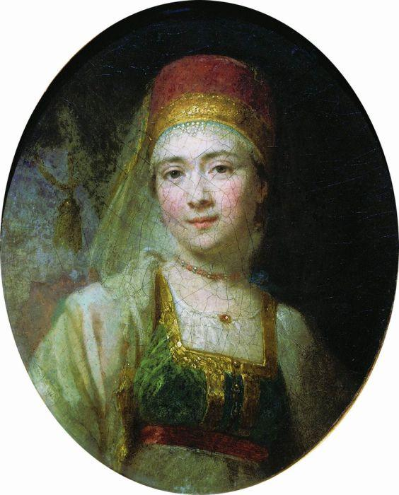 Christina, the Peasant Woman from Torzhok, 1795 by Vladimir Lukich Borovikovsky (1757-1825) | Famous Paintings Reproductions | WahooArt.com