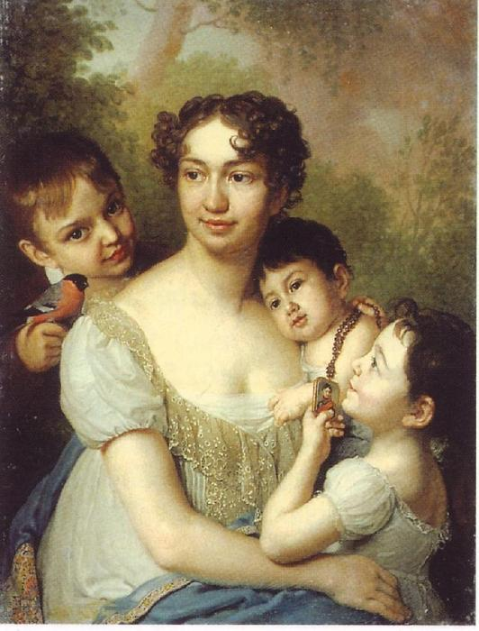 Elena P. Balashov, ur. Beketov with children Dimitri, Anna and Peter by Vladimir Lukich Borovikovsky (1757-1825) | Famous Paintings Reproductions | WahooArt.com