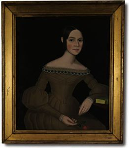 Ammi Phillips - Portrait of a Dark-Haired Young Woman Wearing Light-Brown Dress Holding a Spray of Pinks
