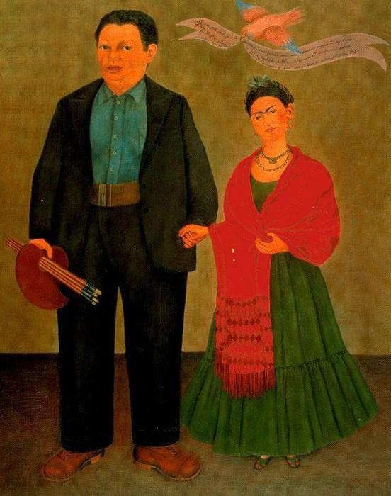 Frida y Diego Rivera, Oil by Frida Kahlo (1907-1954, Mexico)