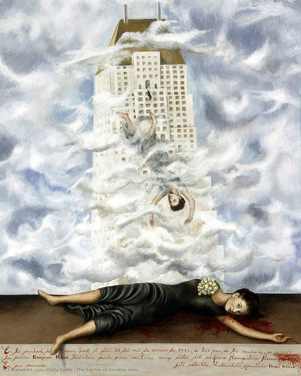 The Suicide of Dorothy Hale, 1938 by Frida Kahlo (1907-1954, Mexico) | Famous Paintings Reproductions | WahooArt.com