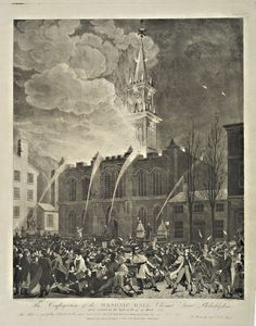 John Lewis Krimmel - The conflagration of the Masonic Hall Chestnut Street Philadelphia