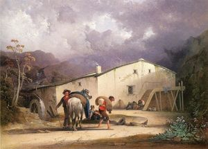Joshua Shaw - Old Mill, Miller and Horse
