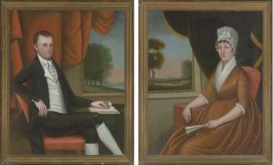 Ralph Eleaser Whiteside Earl - A Pair of Double Portraits of Mr and Mrs Nathaniel (Martha) Ruggles