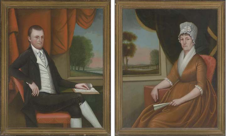 A Pair of Double Portraits of Mr and Mrs Nathaniel (Martha) Ruggles by Ralph Eleaser Whiteside Earl (1751-1801, United States) | Art Reproductions Ralph Eleaser Whiteside Earl | WahooArt.com
