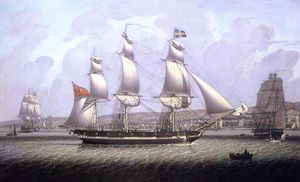 Robert Salmon - A Frigate of the Baltic Fleet off Greenock
