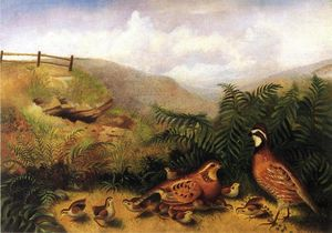 Rubens Peale - Landscape with Quail - Cock, Hen and Chickens