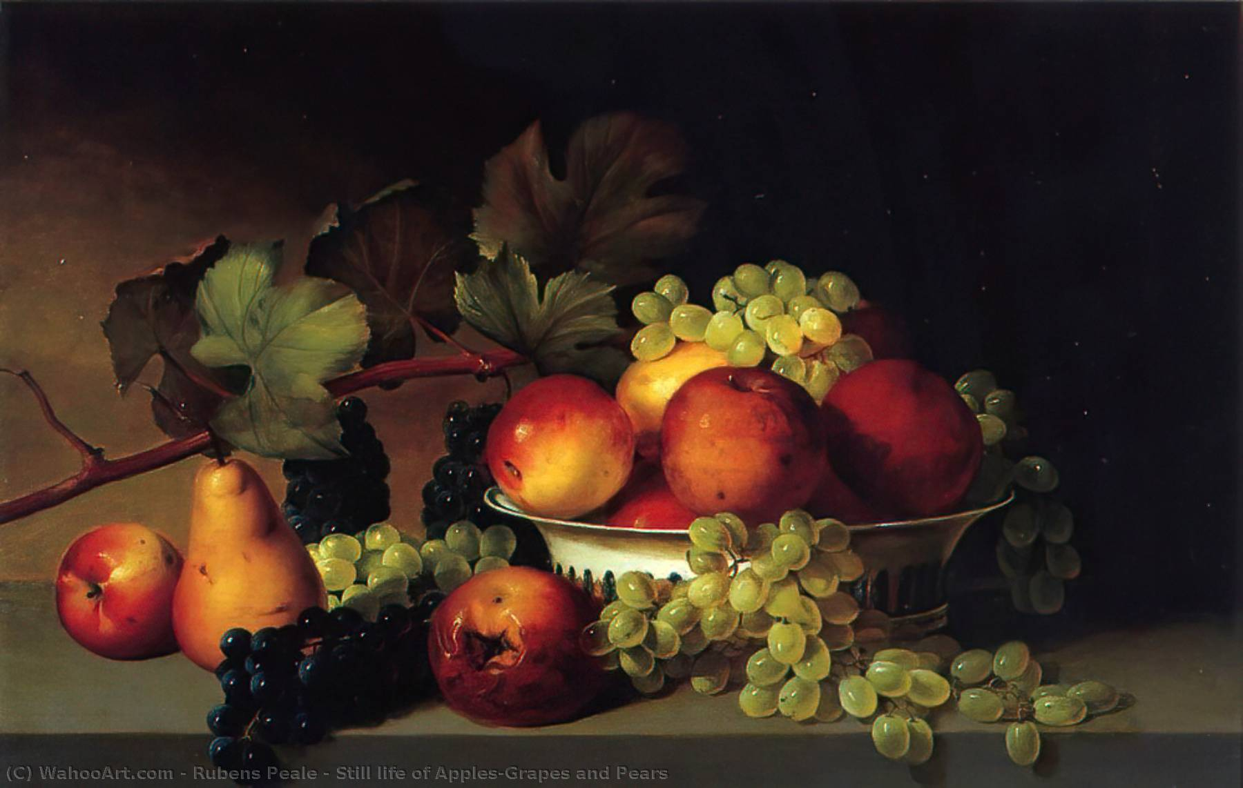 Still life of Apples,Grapes and Pears by Rubens Peale (1784-1865, United States)