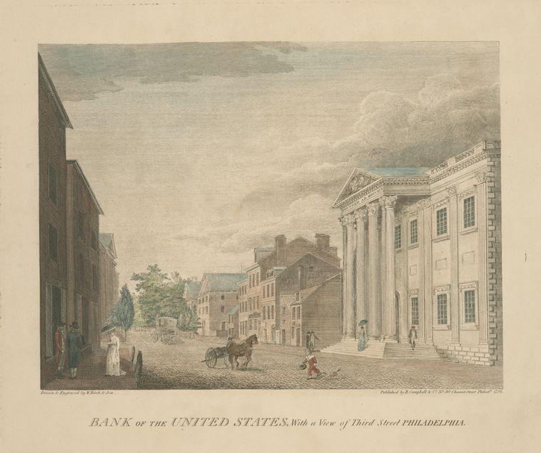 Bank of the United States, with a view of Third Street Philadelphia by Thomas Birch (1779-1851, United Kingdom) | Museum Quality Copies Thomas Birch | WahooArt.com