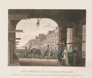 Thomas Birch - High Street, from the country marketplace Philadelphia. with the procession in commemoration of the death of General George Washington 1