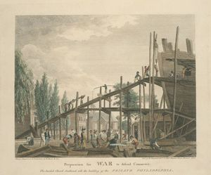 Thomas Birch - Preparation for war to defend commerce. The Swedish Church Southwark with the building of the frigate Philadelphia
