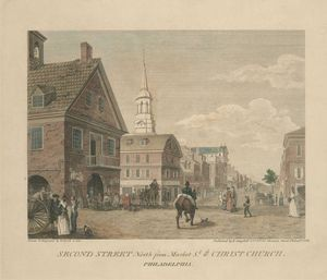 Thomas Birch - Second Street north from Market St. wth. Christ Church. Philadelphia