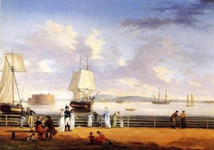 Thomas Birch - The Battery and Harbor, New York