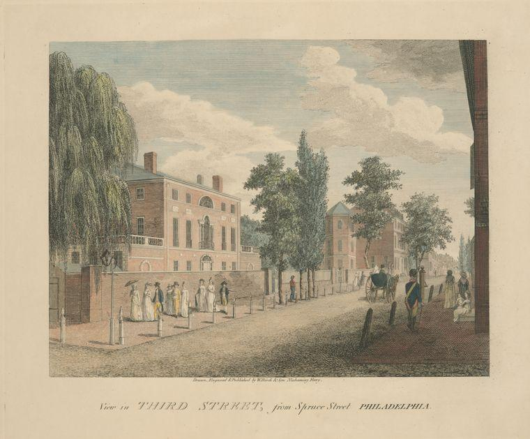 View in Third Street, from Spruce Street Philadelphia, Oil by Thomas Birch (1779-1851, United Kingdom)