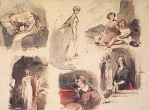 Thomas Sully - (Six Figure Studies) (recto) and [Untitled] (Seven Figure Studies) (verso)