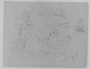 Thomas Sully - Two Sketches of Females Looking out of a Window; Seated Female; Mother Playing with Child; Seated Male and Female Looking at a Book