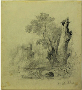 William Guy Wall - Riverside Landscape with Ruins and Tree Stump