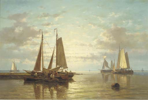 A Calm. Sailing Vessels In An Estuary At Dusk, Oil by Abraham Hulk Senior (1813-1897, Netherlands)