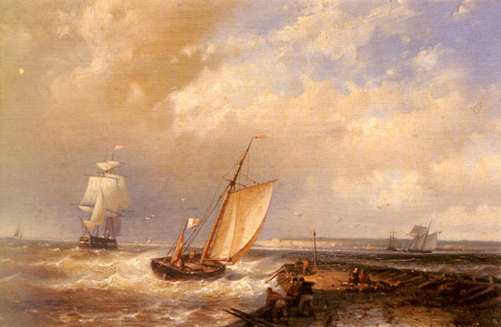 A Dutch Pink Heading Out To Sea, With Shipping Beyond, Oil by Abraham Hulk Senior (1813-1897, Netherlands)